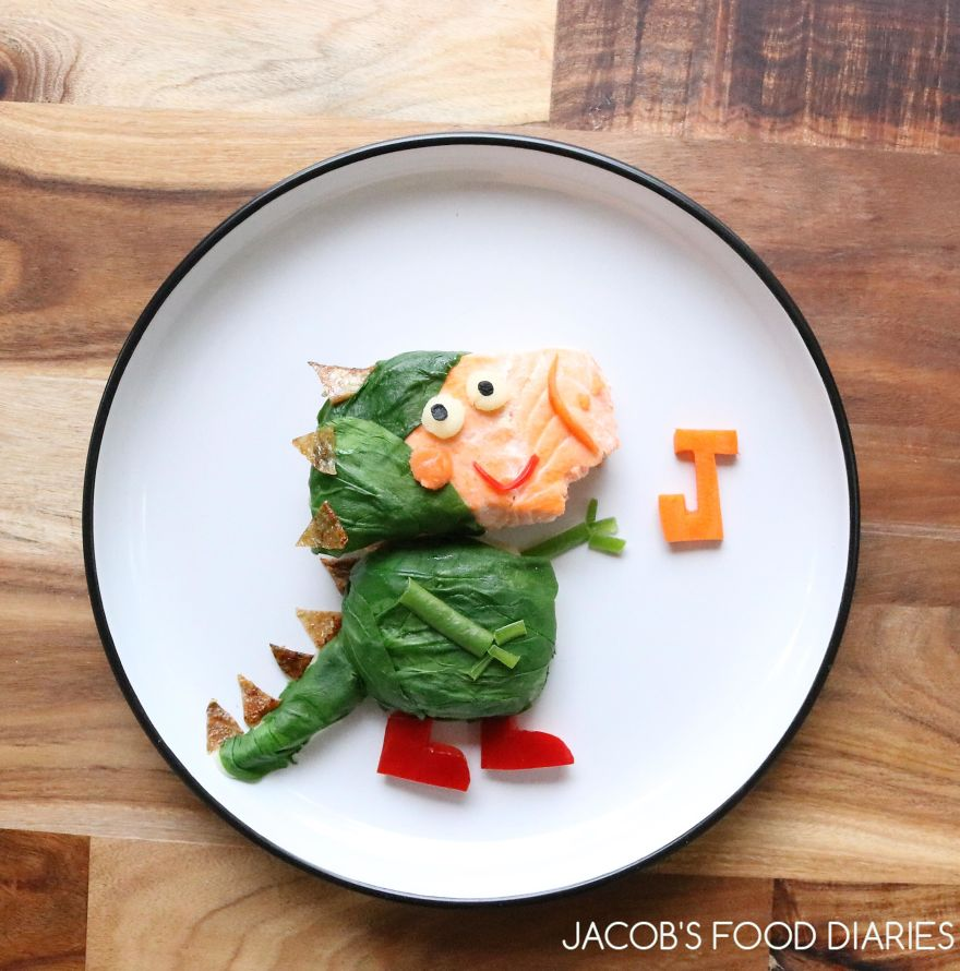 George From Peppa Pig Dressed As A Dinosaur. Wild Australian Salmon With Hidden Mash Potatoes And Spinach
