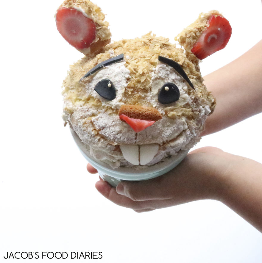 Hamster From Zootopia. Spelt Cupcake With Strawberries And Melon