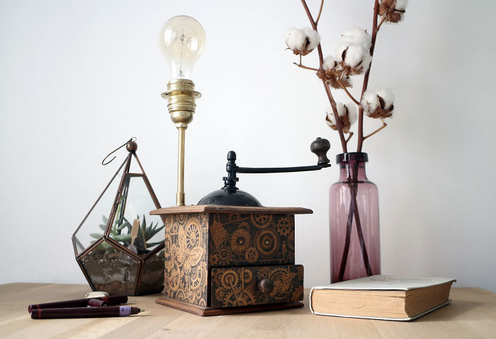 It Took Me 50 Hours And Thousands Of Lines To Bring This Old Coffee Grinder Lamp To Life