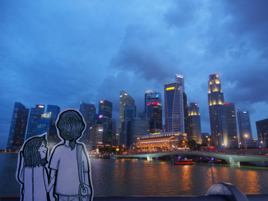 Beautiful View Of Singaporean Skyscrapers From Esplanade