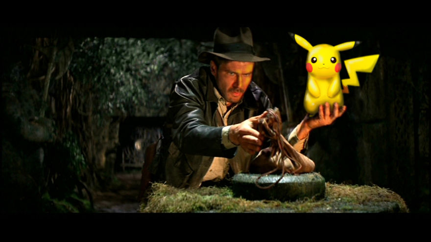 Pikachu As An Idol In Indiana Jones