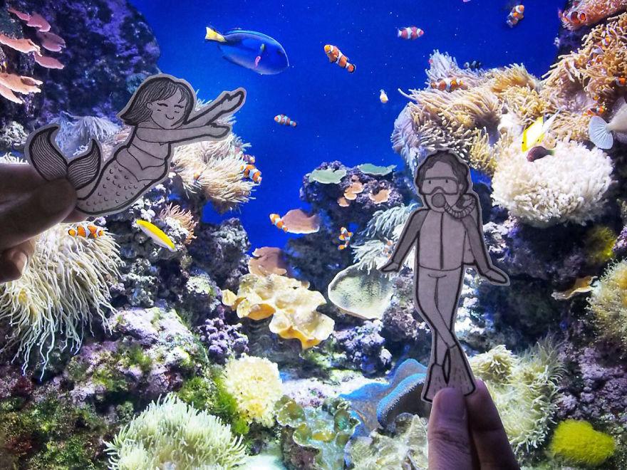 Abang & Neng Swam Underwater In Sea Aquarium Singapore