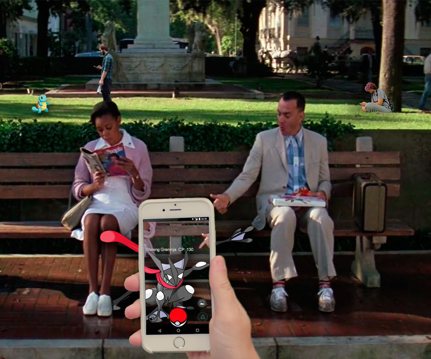 Squirtle And Shiny Greninja In Forrest Gump