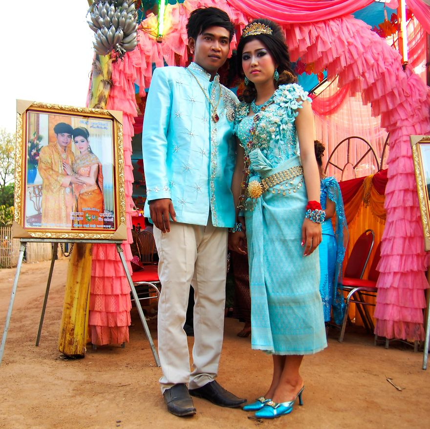 Kevich And Leakena, At Their Wedding. Silk Island, Cambodia
