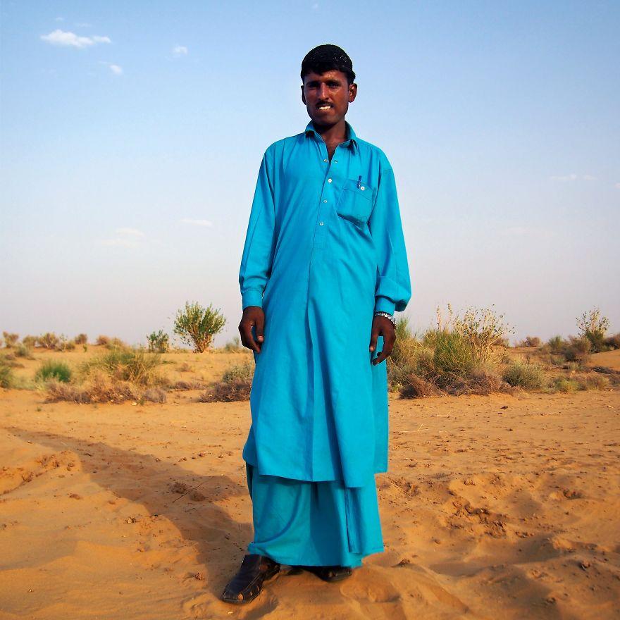 Khan, Camel Safari Guide In The Thar Desert. Jaisalmer, Rajasthan, India