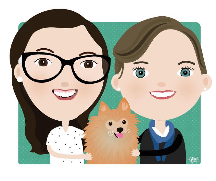 I Make Couples And Their Pets Digital Cartoons