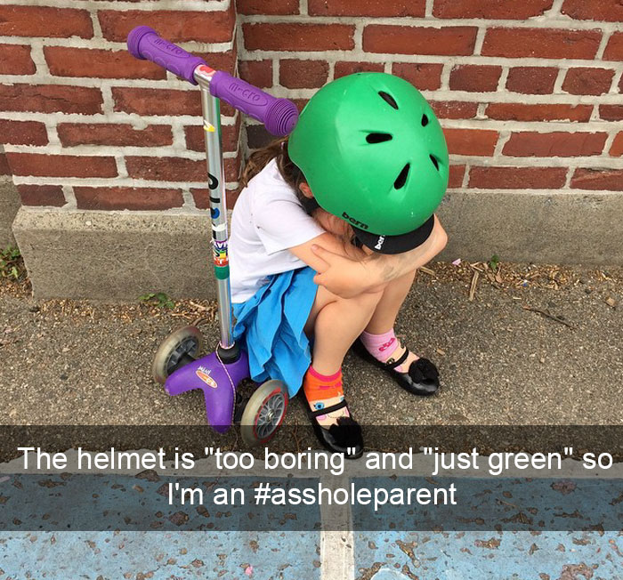 "I Brought Her Scooter From The Car To School Pickup So She Wouldn't Have To Walk One Block, But The Helmet Is ""Too Boring"" And ""Just Green"" So I'm An #assholeparent"