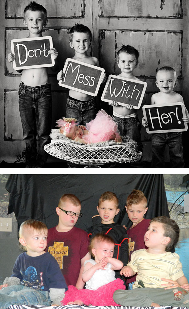5 Boys And New Baby Girl. Nailed It