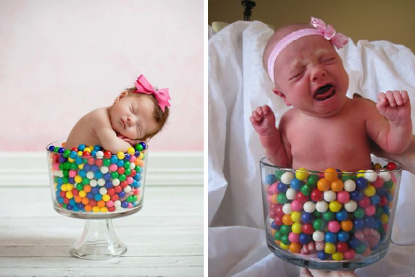 Baby Girl Sleeping In A Vase Full Of Gumballs. Nailed It