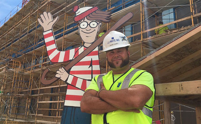 Construction Worker Hides Waldo On Site Everyday For Kids In Hospital Next Door To Find