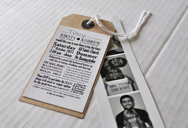 Photobooth And Brown Luggage Tag Wedding Invitations