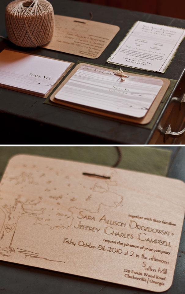 Laser Etched Wood Veneer Wedding Invitations