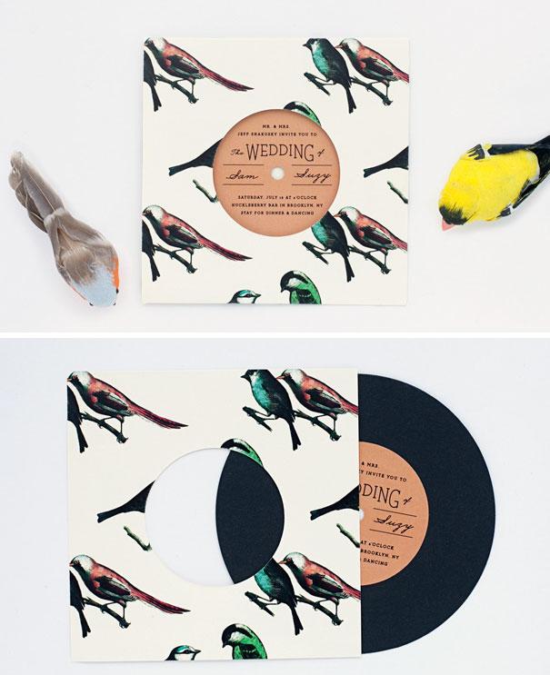 Bird Pattern Record With Sleeve Invitation