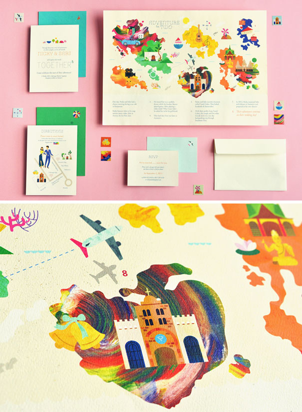 Travel-Themed Wedding Invitations With Relationship Storytelling Map