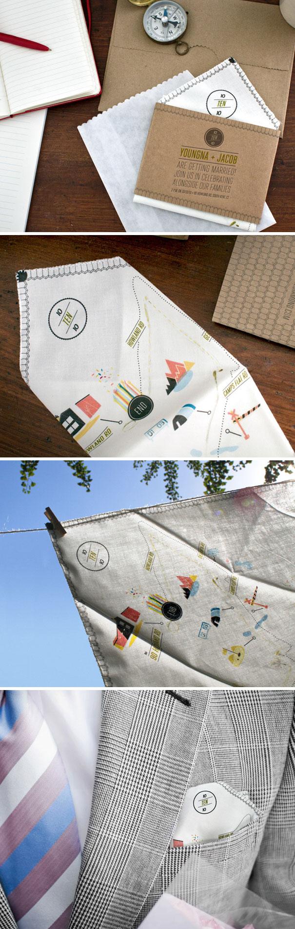 Handkerchief Map Invite