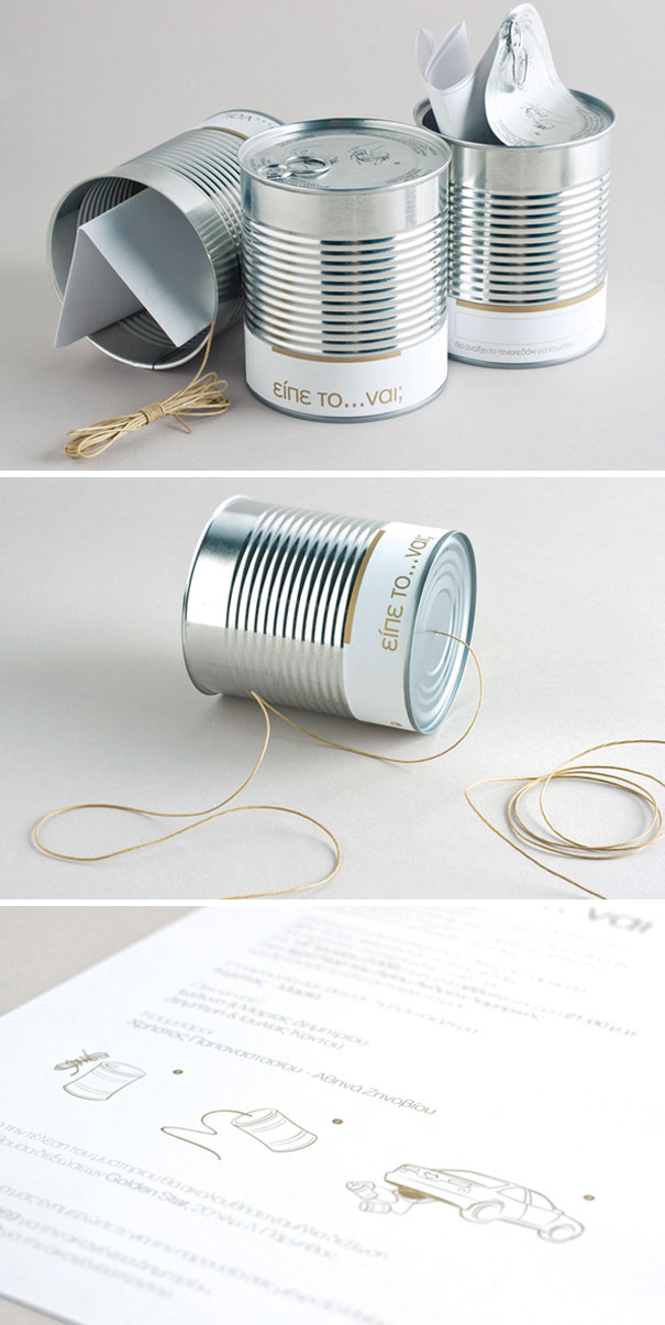 Wedding Invitations In A Can Which After The Ceremony Is Attached At The Back Of The Newly Married Couple's Car