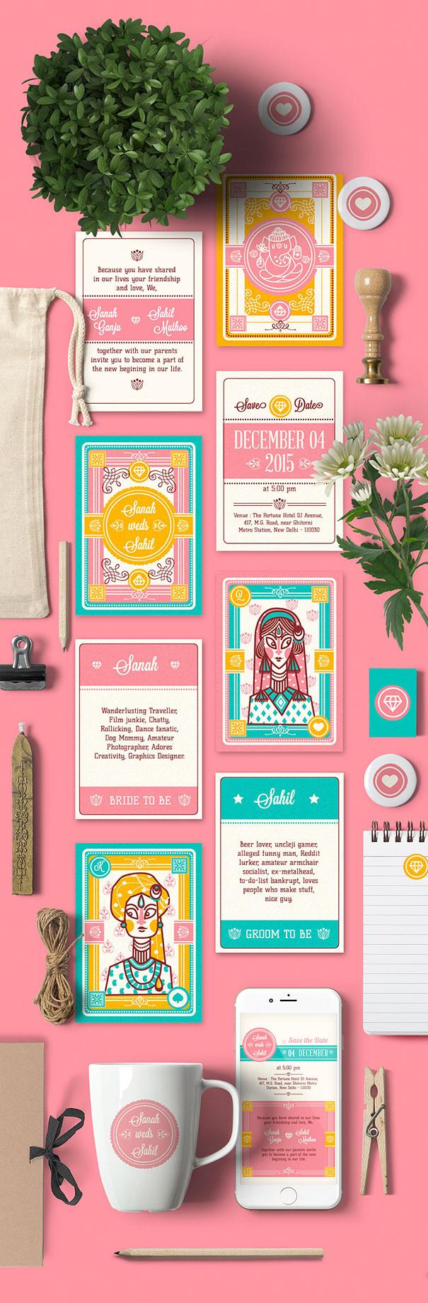 Cards Set With Traditional Kashmiri Wedding Illustrations