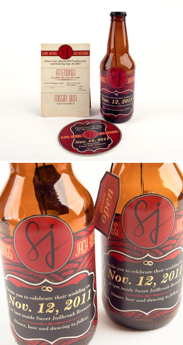 Beer Bottle Wedding Invitations