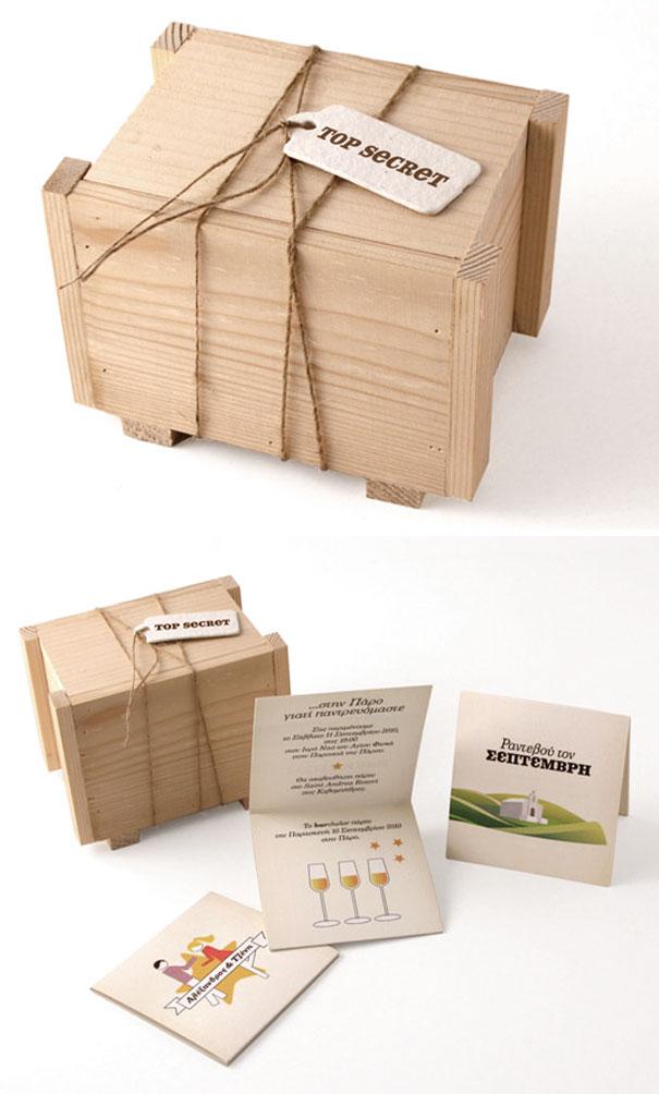 Mini Shipping Crate Wedding Invitations