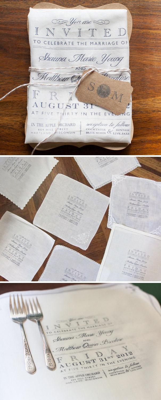 Wedding Invitations On Cute Cotton Napkins