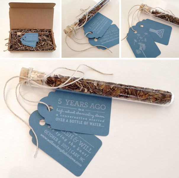 Test Tube & Wildflower Seed Save The Dates (The Couple MeT In Chemistry Class)