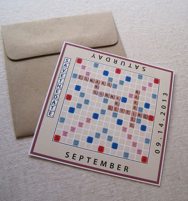 Scrabble Board Game Save The Date