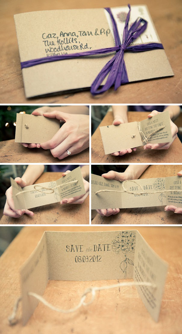 Handmade 'Tying The Knot' Save The Dates