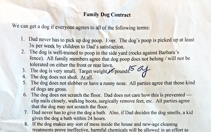 Kids Wanted A Dog So Their Dad Made Them Sign This Super Detailed Family Dog Contract