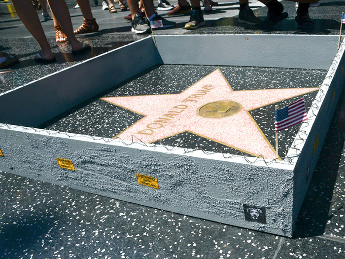 Someone Built A Tiny Wall Around Trump's Hollywood Star And It Has A Hidden Message On It