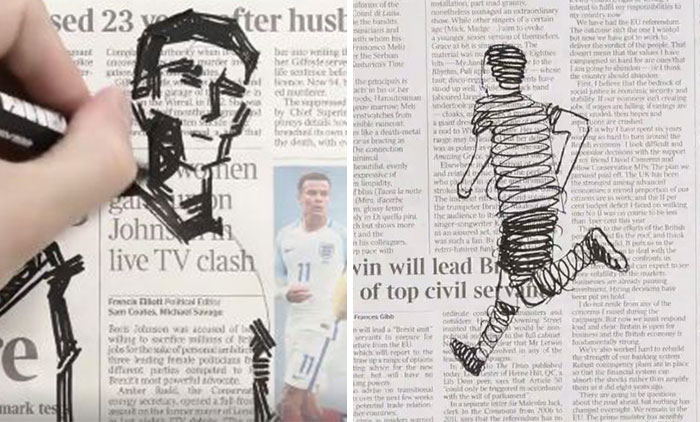 Artist Doodles Between The Headlines To Tell The Story Of Euro 2016