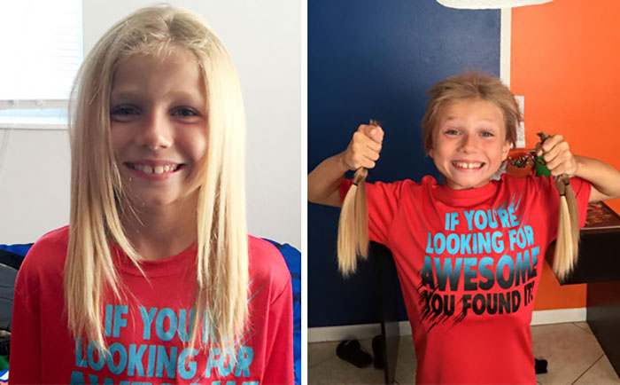 This 8-year-old Boy Was Bullied For 2 Years While Growing His Hair Long To Make Wigs For Kid