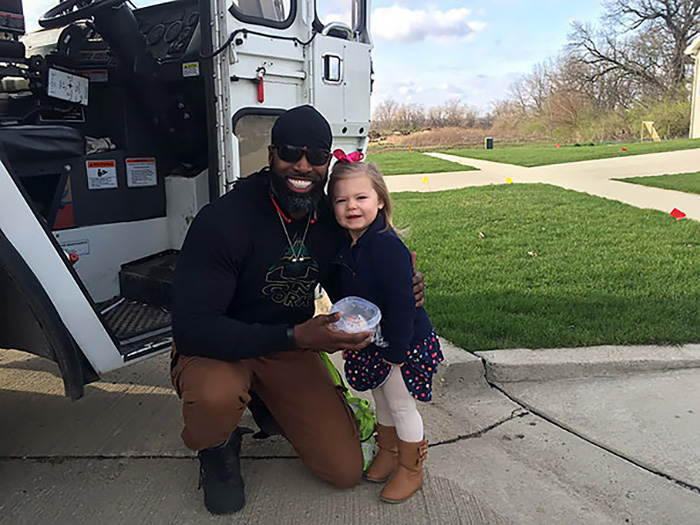 Little Girl Surprises Her Favorite Garbage Man With Birthday Cupcake