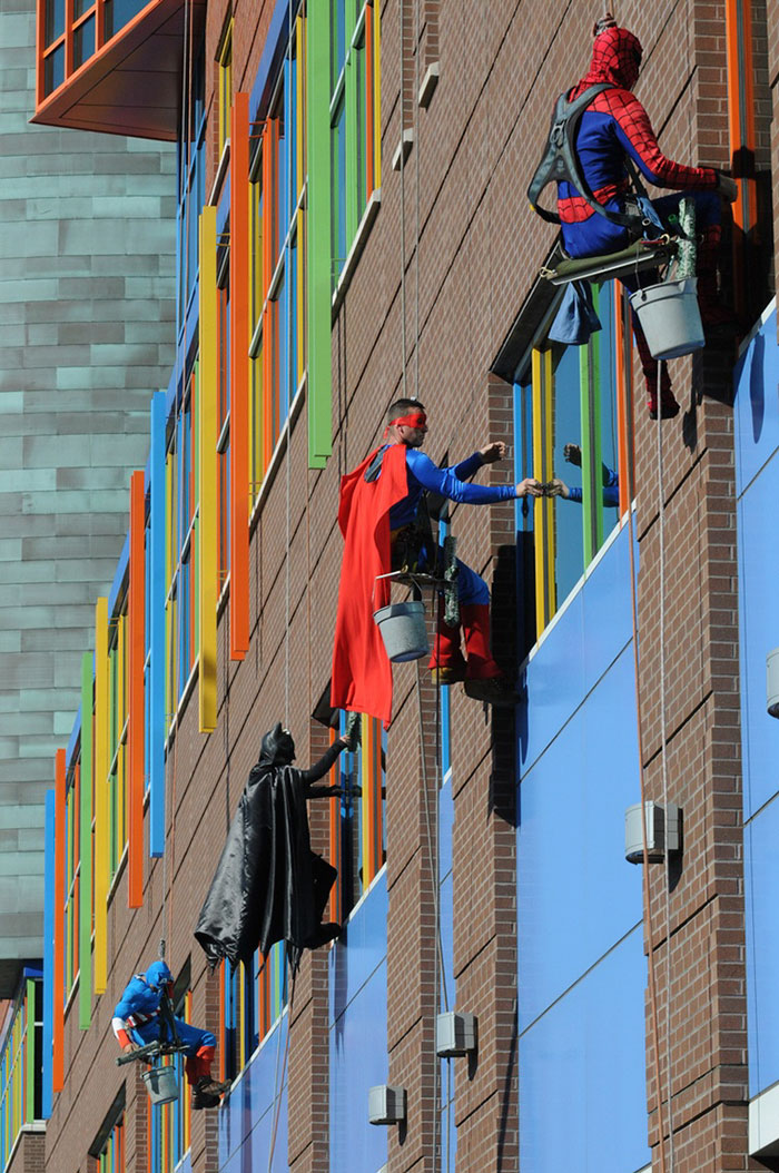 Workers From Memphis Cleaning Company Dress Up As Superheroes To Cheer Up Patients At Childr