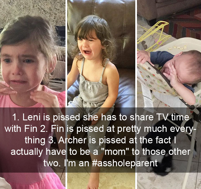 "1. Leni Is Pissed She Has To Share TV Time With Fin 2. Fin Is Pissed At Pretty Much Everything 3. Archer Is Pissed At The Fact I Actually Have To Be A ""Mom"" To Those Other Two. I'm An #assholeparent"