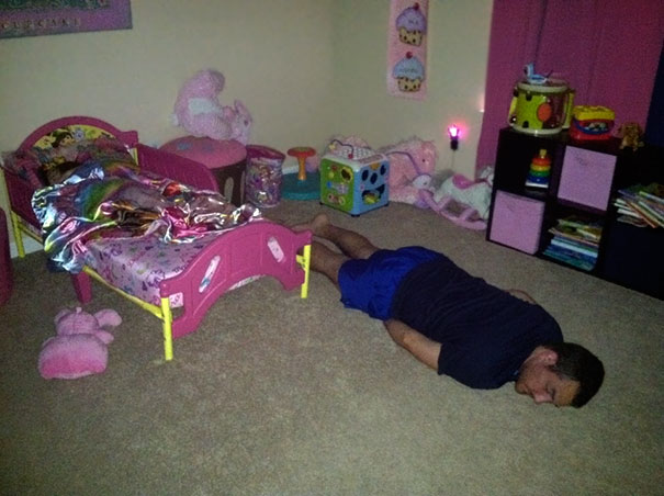 Found My Husband Like This Getting Our One Year Old To Bed