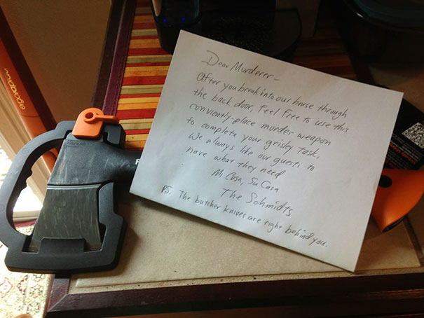 Bought A New Hatchet Yesterday. Came Downstairs To Find This Note On It This Morning. I Think My Dad Is Trying To Teach Me Something About Putting Things Away