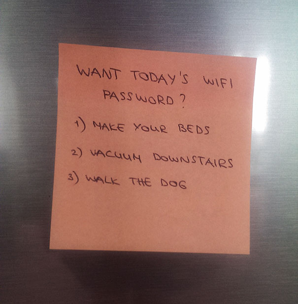 20 of the funniest notes from moms and dads bored panda todays wifi password spiritdancerdesigns Image collections