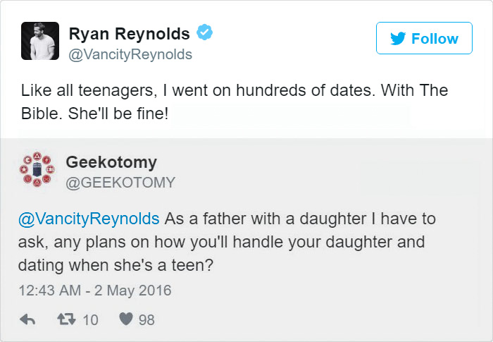Ryan Reynolds Twitter Replies