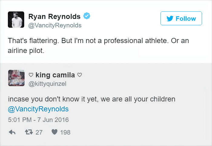 Ryan Reynolds Twitter Replies