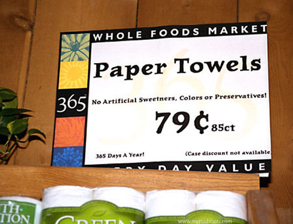 Paper Towels Without Artificial Sweeteners, Colors Or Preservatives