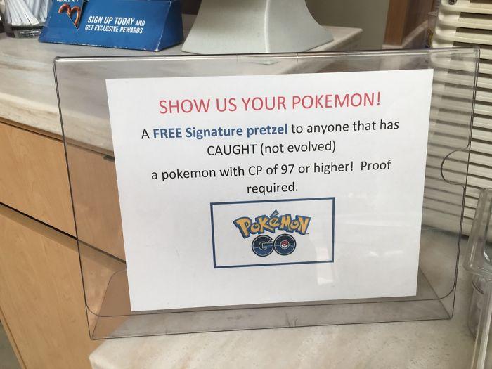 Even The Pretzel Place In My Mall Is Getting In On The Pokemon Go Craze! (free Pretzel!)