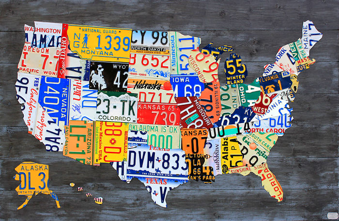 I Made Maps Of The USA Out Of Vintage License Plates