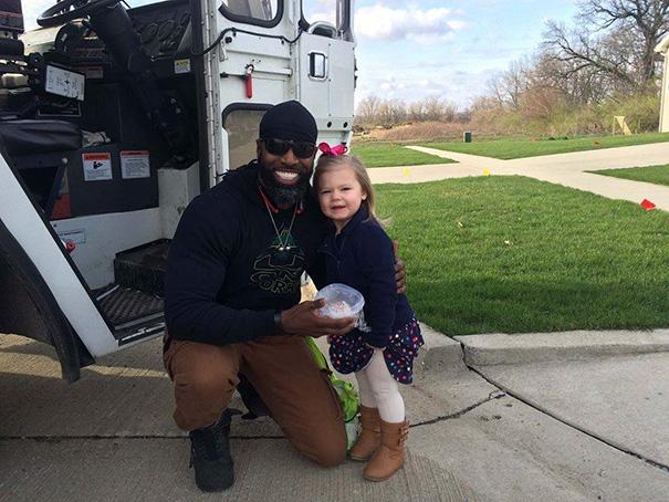 Little Girl Surprises Her Favorite Garbage Man With Birthday Cupcake