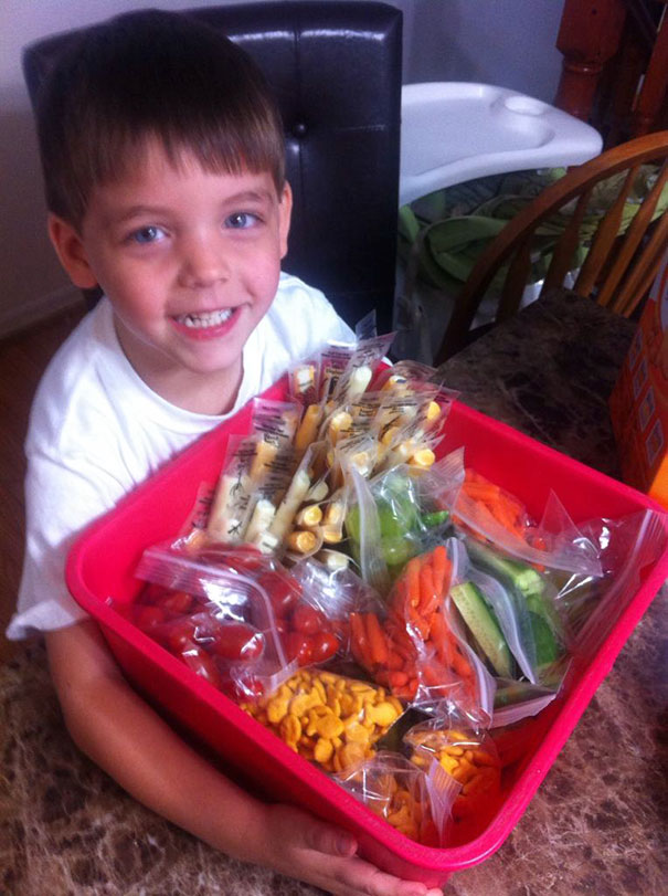 "My Son Said There's Some Kids In His Class That Don't Eat Their Lunch. ""How Come?"" ""Cause They Don't Have One, Mommy. Can I Bring Them Some Of Mine?"" Totally His Idea, And He Helped Pack It, Too"