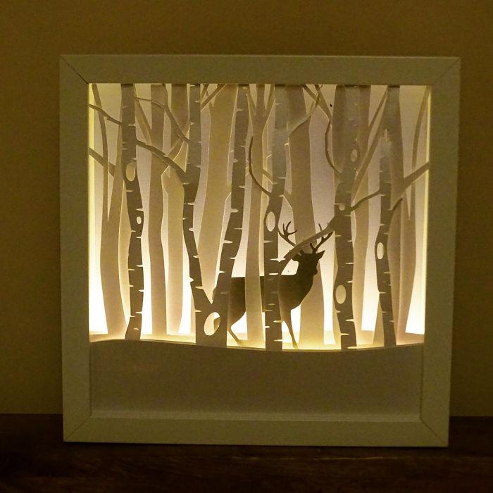 Harry Potter Inspired Winter Stag Framed Night Light