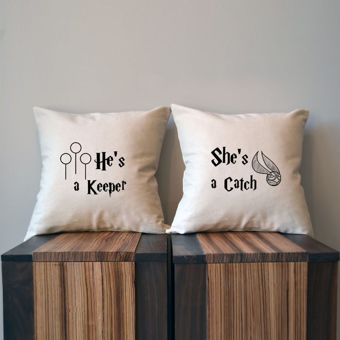 She's A Catch He's A Keeper Harry Potter Pillow Covers