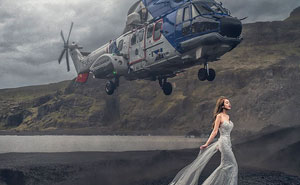 Helicopter Almost Hits Bride's Head For Crazy Wedding Photo