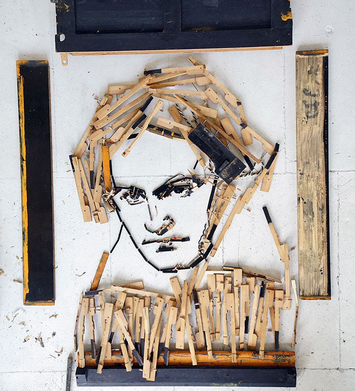 I Made A Portrait Of Beethoven From Old Piano Parts