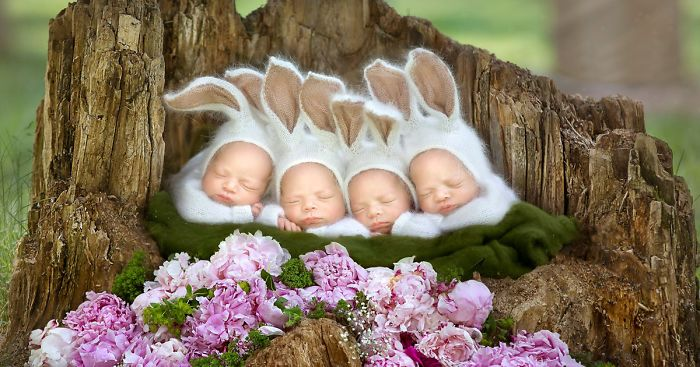 Extremely Rare Identical Quadruplet Girls Star In Photoshoot Snooze