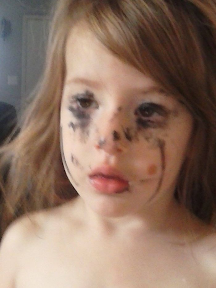 When She Gets Ahold Of Your Mascara And Wants To Be Pretty Like Mommy… ????